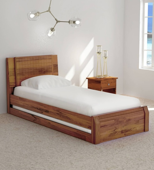 Buy Verkko Solid Wood Single Bed with Trundle in Warm Rich Finish by