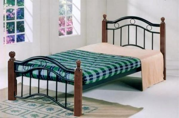 Galaxy Single Bed Metal & Wood Brown Color GDF-8882BRN | Souq - UAE