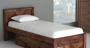 Buy Oriel Solid Wood Single Bed with Drawer Storage in Provincial