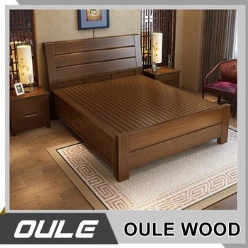 Hot Sale Ash Solid Wood Double Bed New Design Fashion Wooden