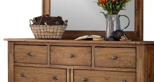 7-Drawer Dresser and Mirror Solid Wood Construction, Vintage Light