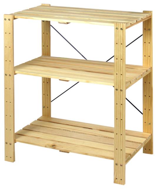 Furinno Pine Solid Wood Shelf, Natural, Set Of 1 - Transitional