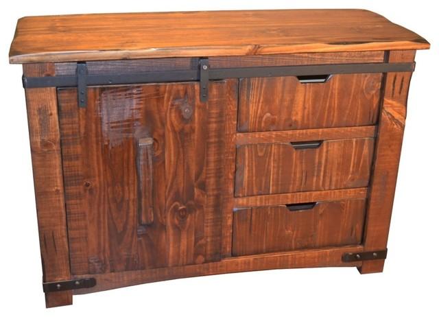 Anton Sliding Barn Door Solid Wood TV Stand - Rustic - Entertainment