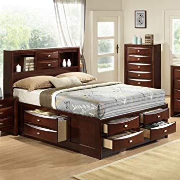 Amazon.com: Roundhill Furniture Emily 111 Wood Storage Bed, King