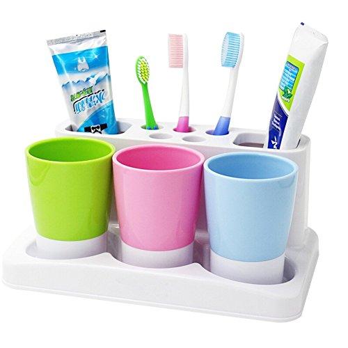 Amazon.com: Tonze Plastic Bathroom Toothbrush Tooth Paste Stand