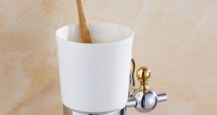Silver Polish Cup toothbrush holder Modern Toothbrush Tumbler Flower