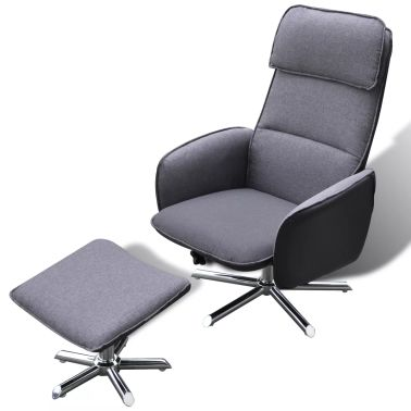 Home TV Armchair Adjustable Recliner With Foot Stool Grey | vidaXL