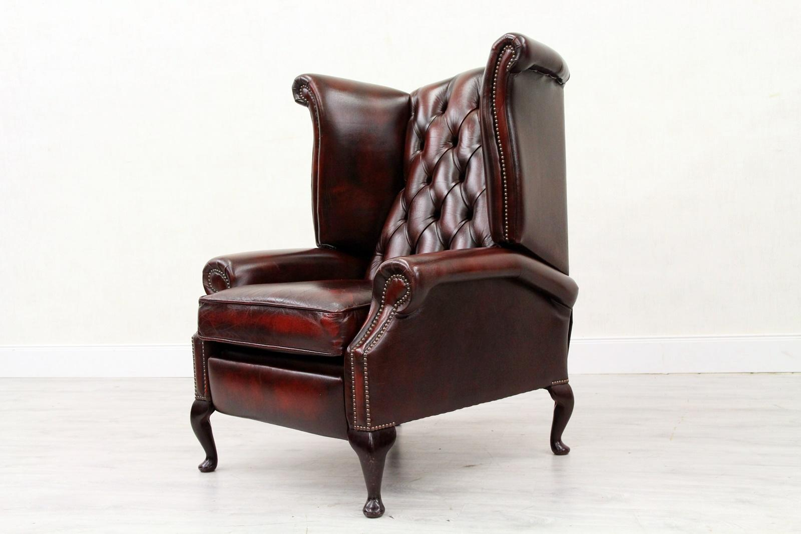 Chesterfield Sofa Armchair Leather Antique Wing Chair TV Armchair