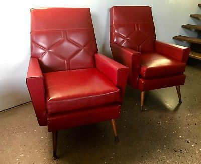 A-PAIR-VINTAGE-RED-VINYL-ARMCHAIRS-Original-Retro-TV-chairs-1950s