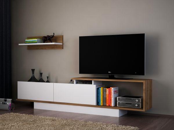 TV Lowboards Weiß - Walnuss Asos | TV - Lowboards |Wohnzimmer