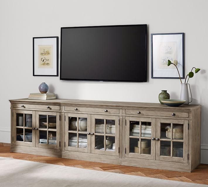Livingston Large TV Stand With Glass Doors | Pottery Barn