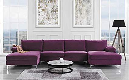 Amazon.com: Modern Large Velvet Fabric U-Shape Sectional Sofa