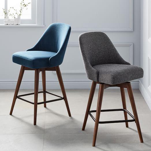 Mid-Century Upholstered Swivel Counter Stool | west elm