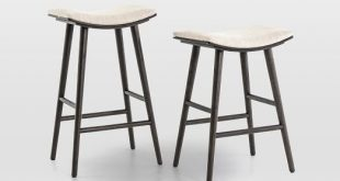 Oak Wood + Upholstered Saddle Bar + Counter Stools | west elm