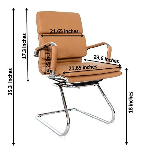Eames Replica Camel Visitors Chair With High Density Vegan Leather