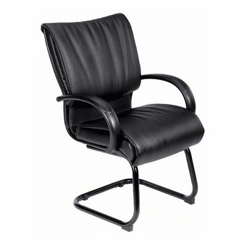 Leather Visitor Chairs - Boss Black Leather Visitor Chair [B9709]