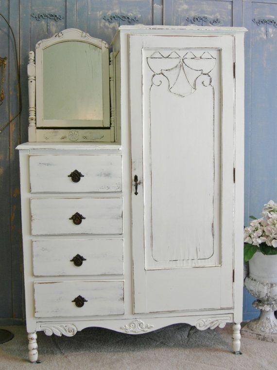 Antique Dresser Armoire Chifferobe Shabby Chic by RedBarnEstates