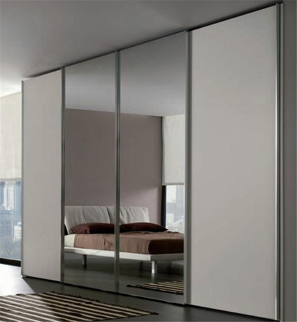 Sliding bedroom wardrobe with mirror in center-in Wardrobes from