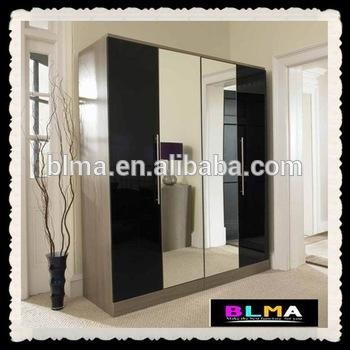 4 Doors Wardrobe With Mirror,Wardrobe With Sliding Mirror Doors