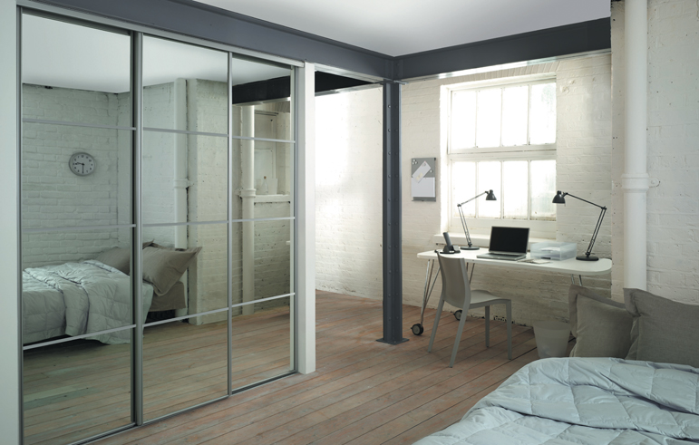 SILVER FRAME MIRROR DOORS AND TRACK 4 DOORS