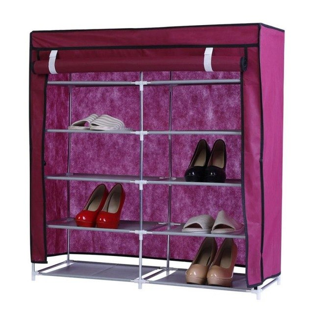 Double Side Shoe Shelves Canvas Shoe Stool Storage Wardrobe Rack