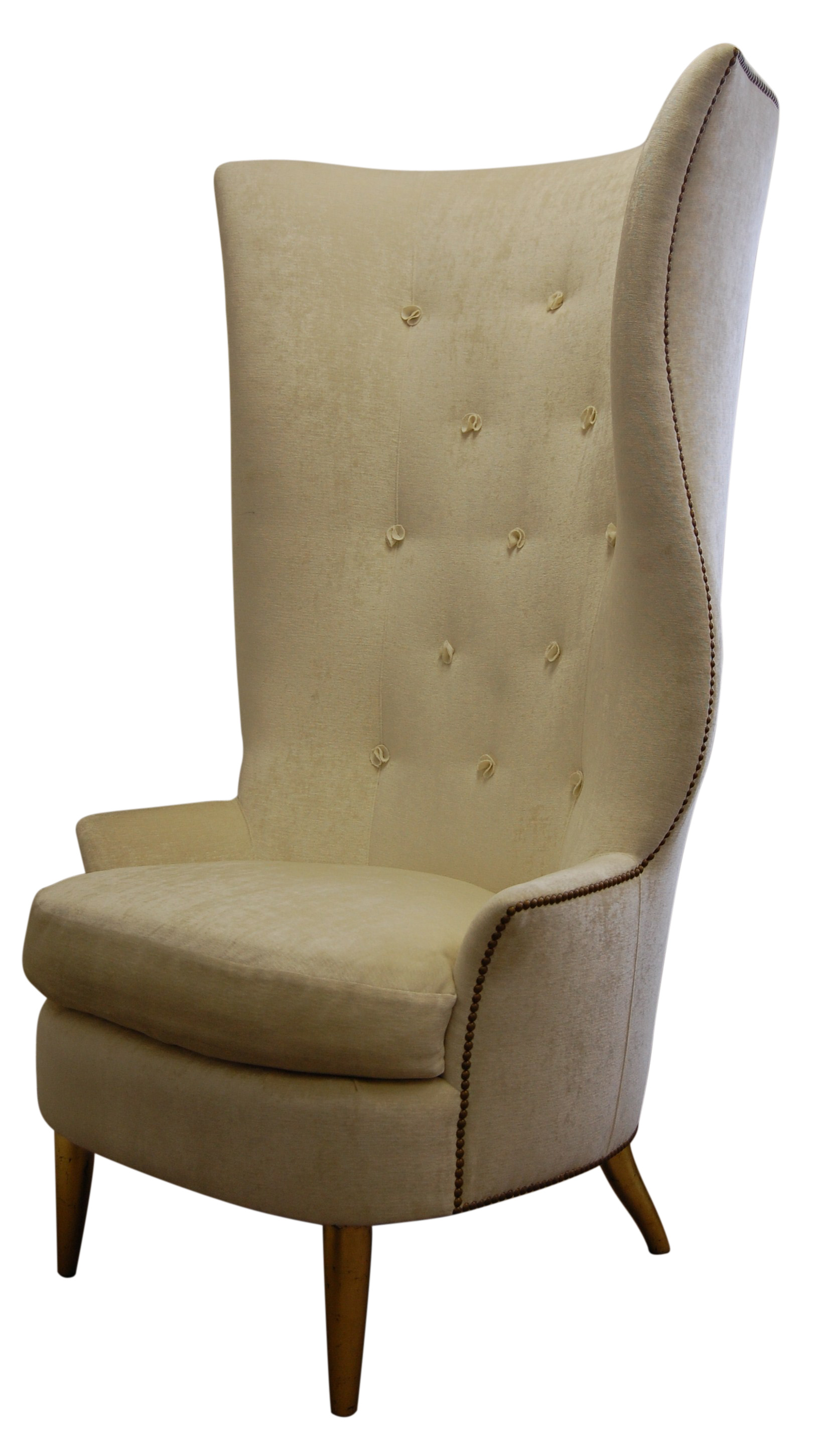 Gudinna Barrel Tall Wing Chair - Traditional Transitional Mid