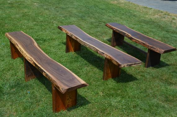 Reclaimed Wooden Benches Outdoor Garden Benches Live Edge   Etsy