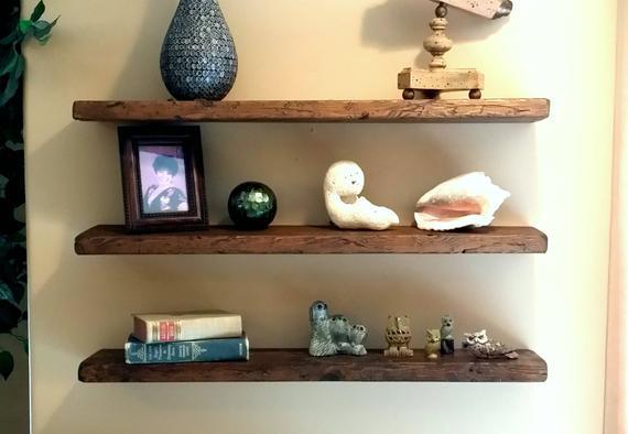 Any Length Floating Shelves Reclaimed Floating Shelf Wall   Etsy