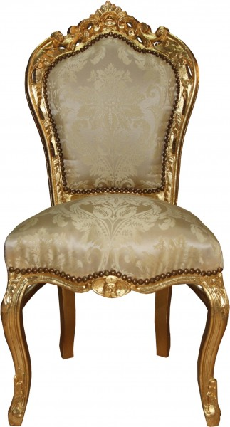 Casa Padrino Baroque Dinner Chair Cream Pattern / Gold - Baroque