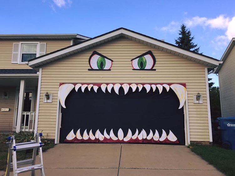 Designer Turns Garage Door into Scary Monster with Chomping Jaws