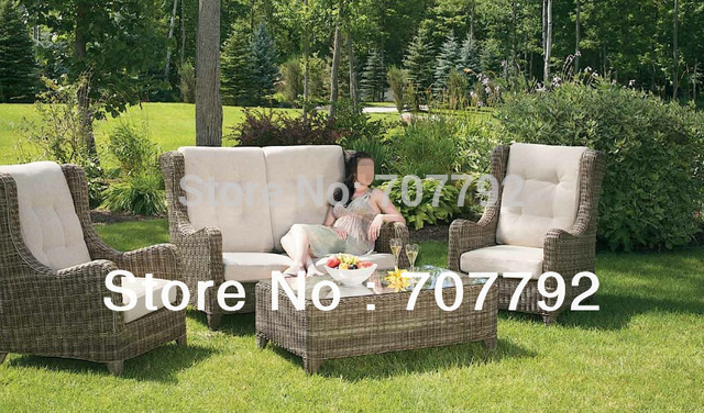 New Collection Outdoor Furniture Poly Rattan High Back 4 Seat Sofa