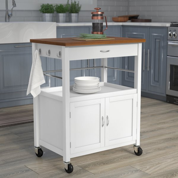 Andover Mills Kibler Kitchen Island Cart with Natural Butcher Block