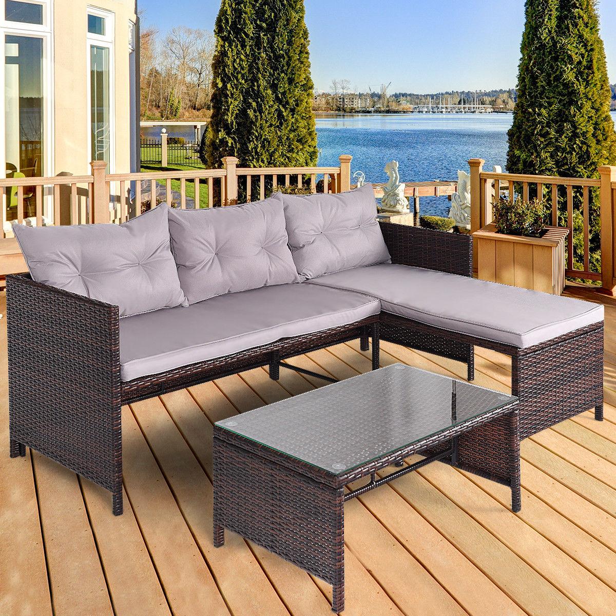 Costway 3 PCS Outdoor Rattan Furniture Sofa Set Lounge Chaise