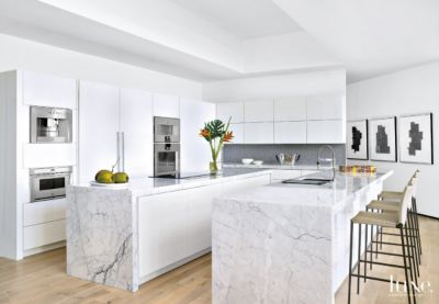 Modern White Kitchen with Two Islands | LuxeSource | Luxe Magazine