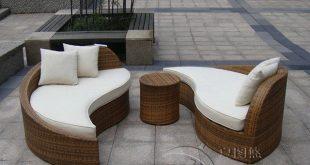 3pcs rattan sofa set Poly Rattan Waterproof Lounge Bed , Rattan