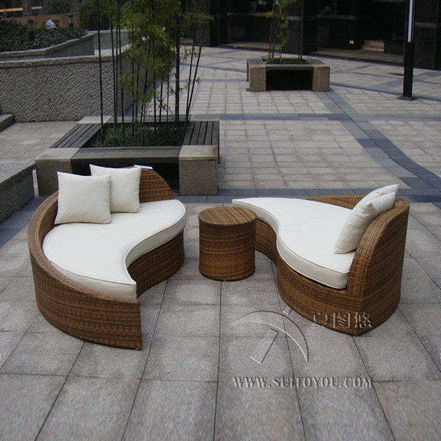 3pcs rattan sofa set Poly Rattan Waterproof Lounge Bed , Rattan