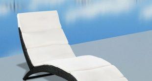 vidaXL Foldable Sun Lounger with Cushion Poly Rattan Black-in Sun