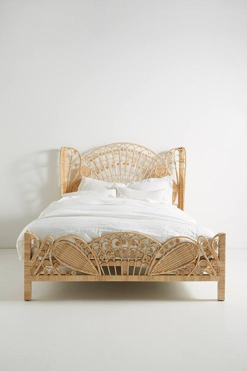 Kinsella Natural Rattan Fanned Headboard Bed