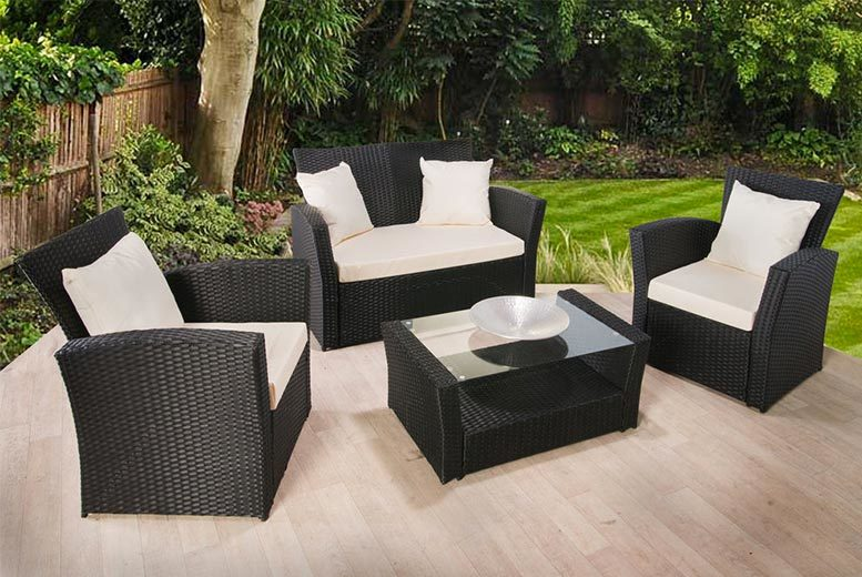 Pc Rattan Furniture Set 4 Piece Rattan Garden Set Dobbies Garden
