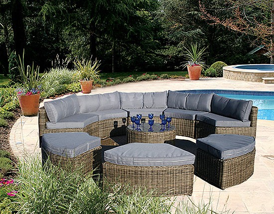 New Circular Outdoor Furniture Curved Modular Rattan Garden Set 9