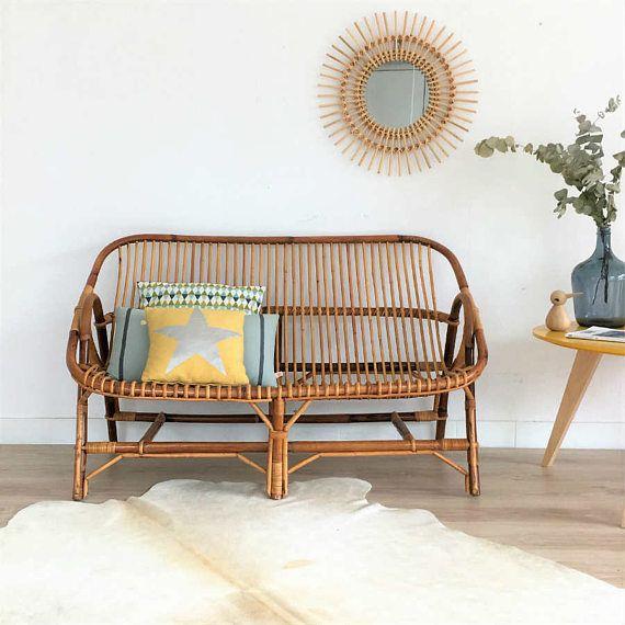 Mid century rattan bench seat, rattan sofa, mid century modern