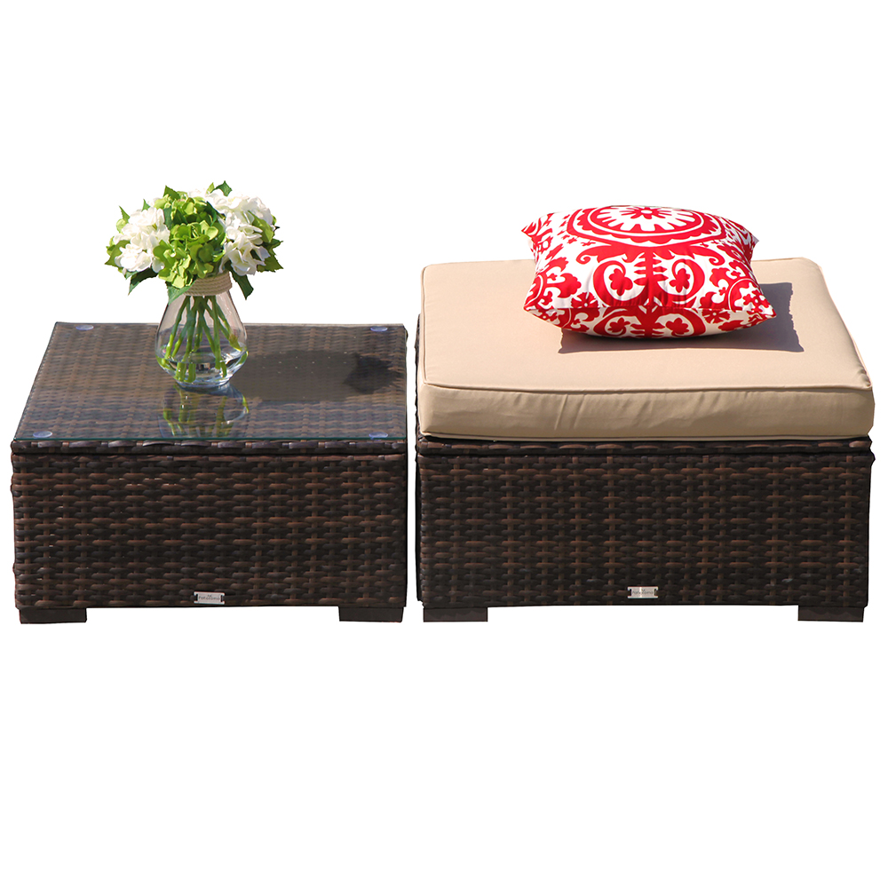 Ottoman Chair &Coffee Table,Outdoor Patio Furniture All Weather