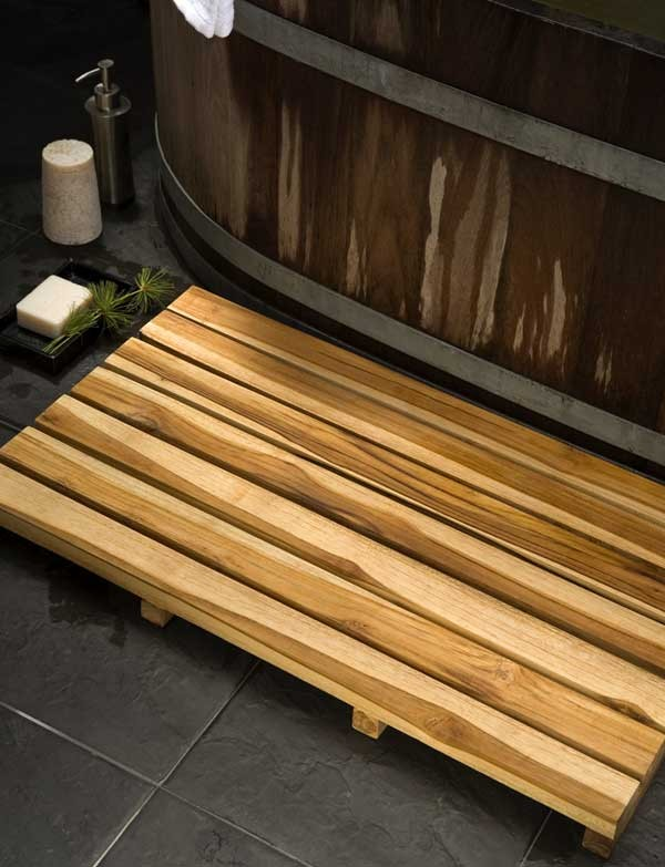 Teak Wood Spa Mat - Teak Oil Finish - Natural Wood Decor