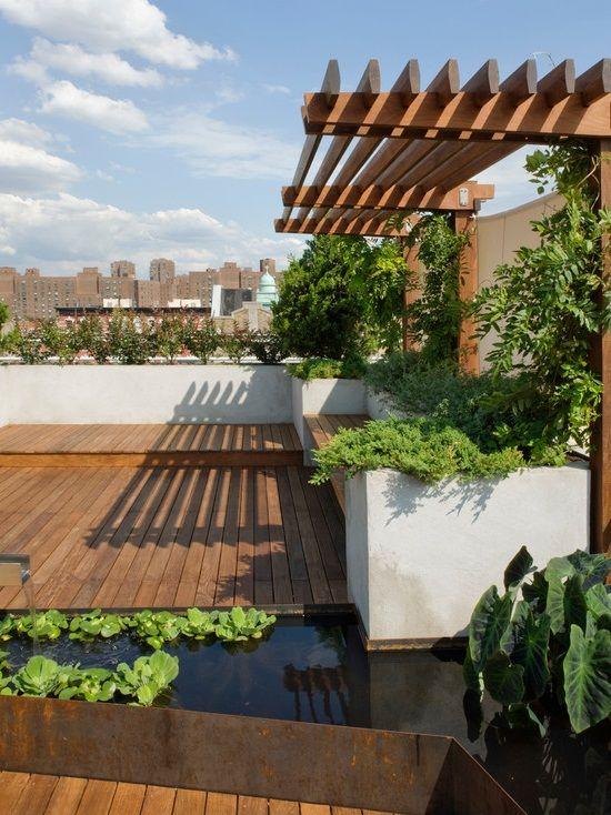 Roof Garden Terrace Design With Wooden Floor make modern terrace