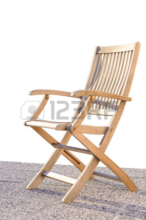 Foldable Deck Chair On Outdoor Terrace, Made Of Teak Tropical