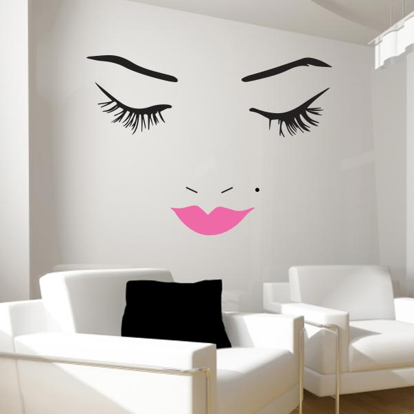 Beautiful Face Wall Decal | Lips Wall Decals | Wall Decal World
