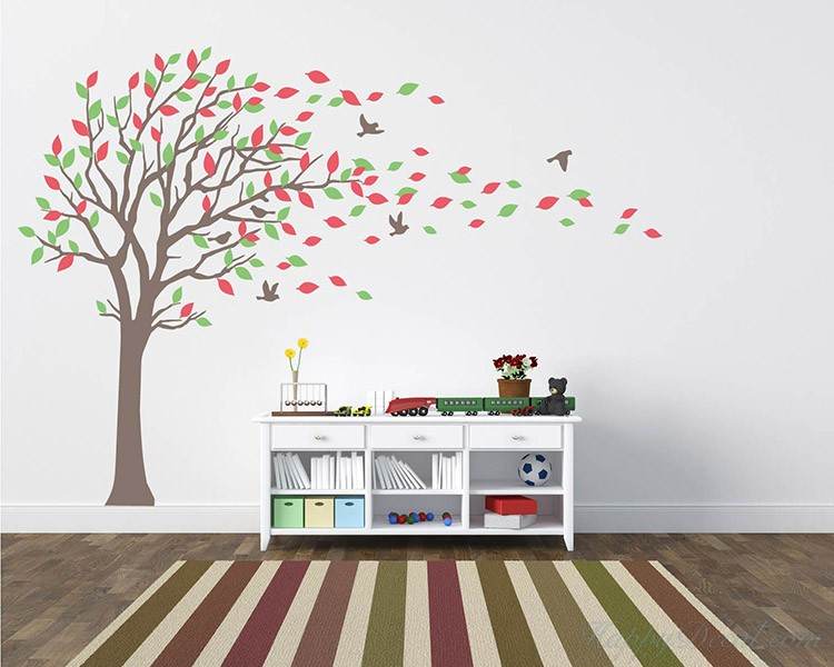 Large Tree Wall Decal with Colorful Leaves Blow in the Wind Nursery