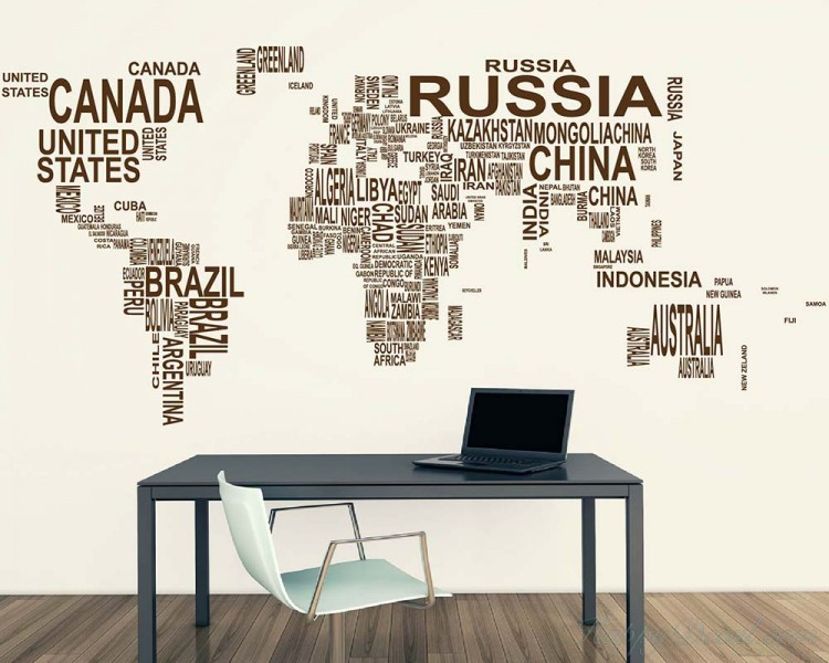 World Map Country Names Vinyl Decals Modern Wall Stickers