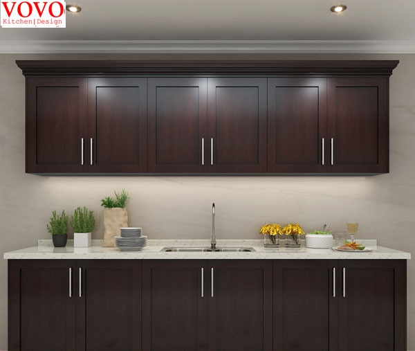 Walnut wooden kitchen cabinet-in Kitchen Cabinets from Home