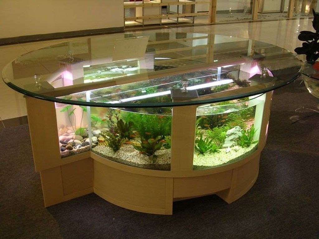 50 Amazing Aquarium Feature Coffee Table Design Ideas - HOMISHOME